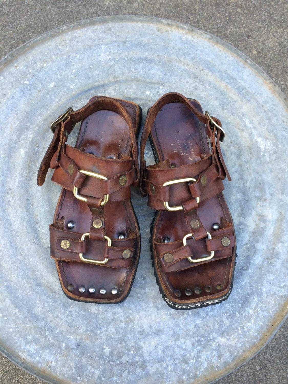 Vintage Boho Leather Sandals Gladiator Tire Tread Soles Sz 8.5