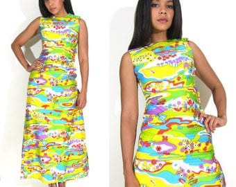 Vintage 60s 70s Psychedelic Pop Op Art Rainbow Lanz Maxi Dress Hippie Festival