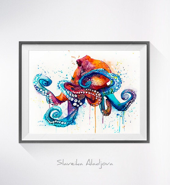 Octopus Watercolor Painting Print Octopus Art Animal