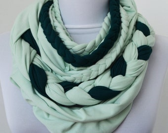 Mint & Teal Green Loop Scarf - Infinity Jersey Scarf - Partially braided Circle Scarf - Scarf Nekclace