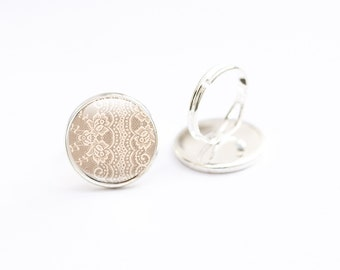 Lace Jewelry - Lace Photo Ring - Glass Lace Ring - Lace Picture Ring - Glass Ring
