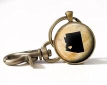 Arizona Keychain - Arizona Pendant Keyring - I Love Arizona - Arizona Heart Keychain