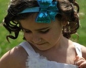 Turquoise Sequin Bow Clip Headband Large Shiny Bling Girls Toddlers Infants 3 inch Sparkle