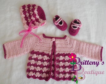 Baby Girl Gift / Baby Gift Idea / Baby Shower Gift / Baby Girl Shower Gift / Girl Shower Gift / Strawberry Cute Crochet Sweater Set / 3 Mo
