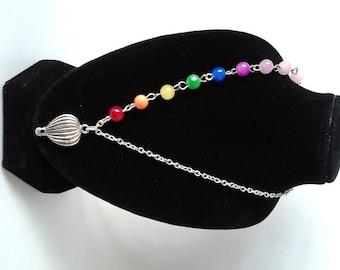 Silver Rainbow Beaded Hot Air Balloon Pendant Necklace