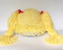 Cabbage Patch Hat, Cabbage patch wig, crochet cabbage patch, light yellow