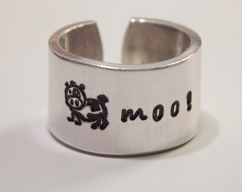 The Cow Moo Cuff Ring  Fun Jewelry Aluminum Hand Stamped