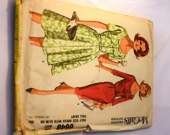 Vintage 1960s half size dress with slim or full skirt McCalls 6648 sewing pattern