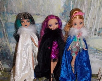 Handmade Doll Clothes. Blue, Cream or Black Cape by Muriel. Cloak has hook & eye Closure. Monster High and EA High dolls not included