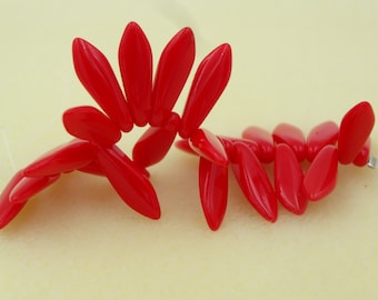 Czech Glass 5x16mm Daggers Red Opaque 25 Pieces