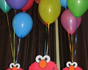 3 Elmo Balloon Holder Centerpieces