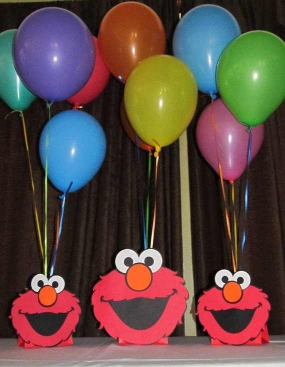 Balloon Centerpiece Holders : Elmo balloon holder centerpieces