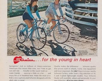 1972 Schwinn Bicycle Ad Super Sport Bikes for Men & Women Country Western Photo Vintage Advertising Art Print Wall Decor