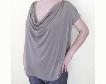 PDF Sewing Pattern - Women's Large Cowl Neck Jersey Top  (sizes_XS-S-M-L-XL-XXL)