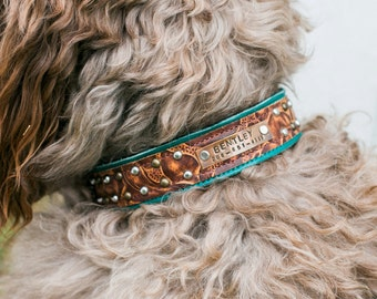 PERSONALIZED Dog Collar // Name Plate, Leather and Copper