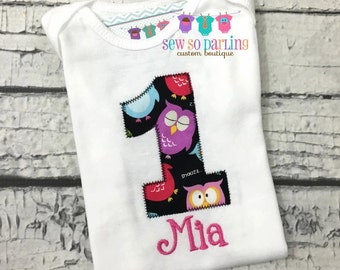Baby girl Owl Birthday Shirt - Girl Owl Birthday Shirt - 1st Birthday Owl Shirt