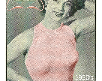 1950's Halter Top and Bolero Vintage Knitting Pattern - PDF Knitting Pattern - PDF Instant Download