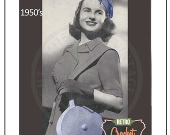 1950s Hat and Bag Vintage Crochet Pattern - PDF Instant Download