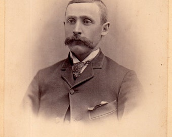 Antique Photo of Gloomy Gent with Mustache