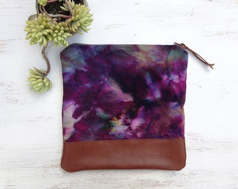 Dyed fold over clutch, dyed canvas clutch with leather bottom, hand dyed clutch, tie dye purse, dyed bag