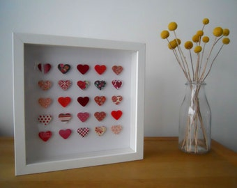 Personalised 40th Ruby Wedding Anniversary Box Frame Picture - Hearts