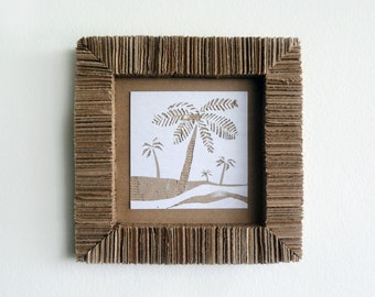 Upcycled Cardboard Tropical Palm Tree Art - Eco-friendly - Interior Decor Cozy Nature Wall Hanging by upmade