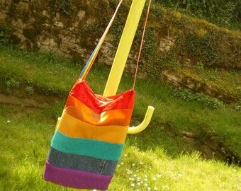 Rainbow TOTE Bag, shoulder strap, top zipper closure, recycled fabrics different textures.