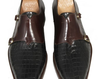 Handmade Monk Strap Black and Brown Mens Shoes