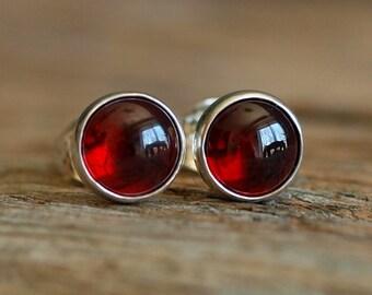 Garnet Sterling Silver Stud Earrings, 6mm Red Garnet Gemstone Earrings, Red Gemstone Studs, Garnet Silver Studs, January Birthstone