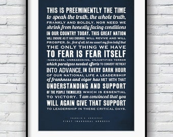 Franklin Roosevelt, Roosevelt poster, Quote print, Inaugural Address, Typography print, American history, FDR speech