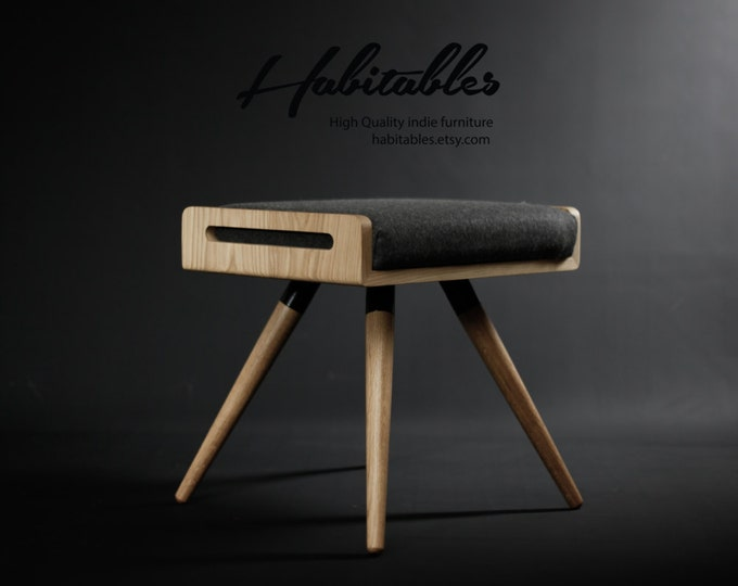 NEW !! Stool / Seat / Ottoman / bench in solid oak board and oak legs