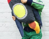 Rocket Pillow Denim Red Kids Oneofakind