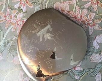 Heart Shaped Powder Compact - Romantic Gift - Elgin American