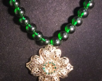 Gold & Green Floral Necklace