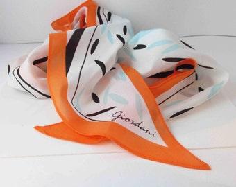 Orange, Sky Blue Black White Polyester Scarf Abstract Signed Vintage