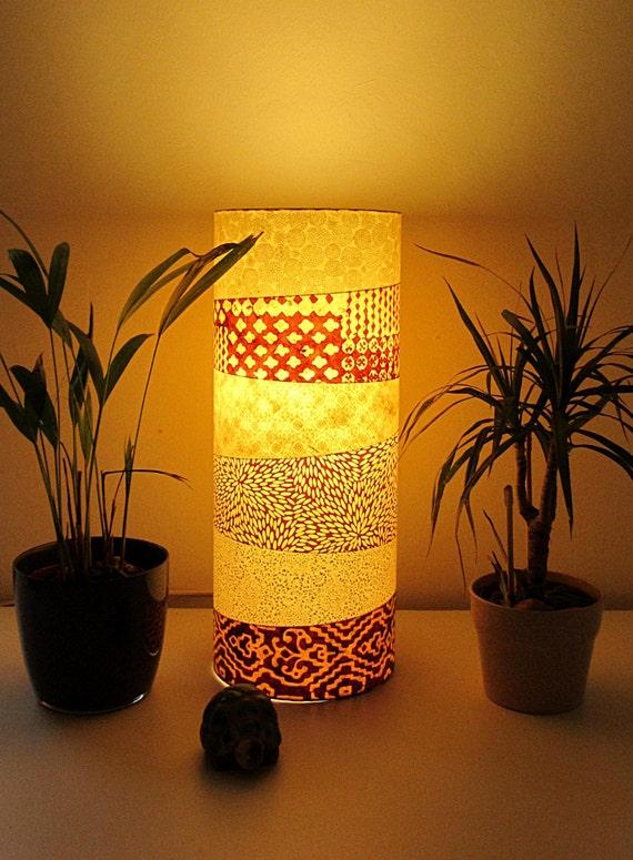 lampe poser totem wood en papier japonais et. Black Bedroom Furniture Sets. Home Design Ideas
