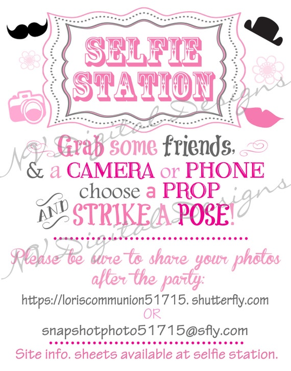 selfie station or photo booth poster art sign digital file
