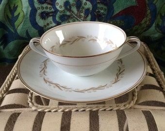 """Scented Soy Candles -- Noritake """"Laurel"""" Cup And Plate Candle Set -- Vintage Teacup Candles"""