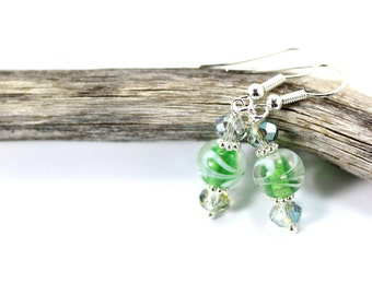 Lampwork Earrings, Green Lampwork Earrings, Green Lampwork Beads, Green Glass Earrings, Green Crystal Earrings, Green Drop Earrings, Green