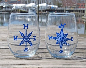 SALE | Nautical Compass Rose Stemless White Wine Glass Set of 2 | FREE SHIPPING