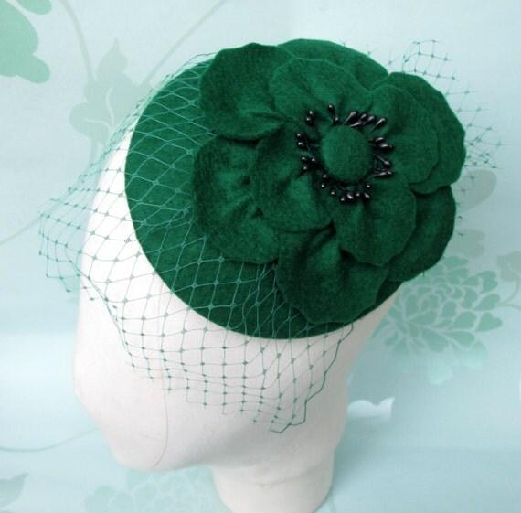 Green Felt Hat - Green Hat, Cocktail Hat, Green Fascinator, Poppy ...