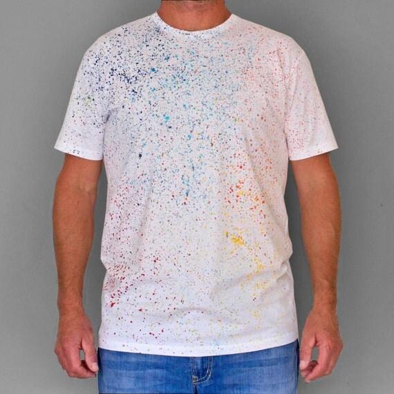 COLOUR SPLASH. 100% cotton T shirt. Hand painted. Unique t