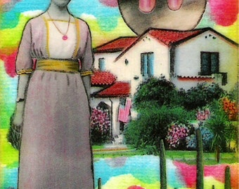 German Girl in Tucson - ACEO,  Watercolor, Collage, Mixed Media, Miniature Art, Print