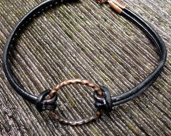 Leather Bracelet ~ Metal and Leather Bracelet ~ Circle Infinity Bracelet ~ Men's Bracelet ~ Teen Boy's Bracelet ~ Teen Boy Gift Idea