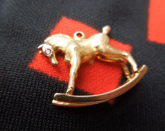9K Gold Rocking Horse Charm 9Kt Gold Figural Horse Charm for Bracelet from Charmhuntress G0128