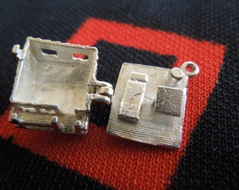 Vintage English House Charm Opens To Furniture Inside Sterling Silver Charm for Bracelet from Charmhuntress 01811
