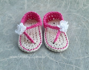 Crochet baby flip flop sandals with carnation many colors
