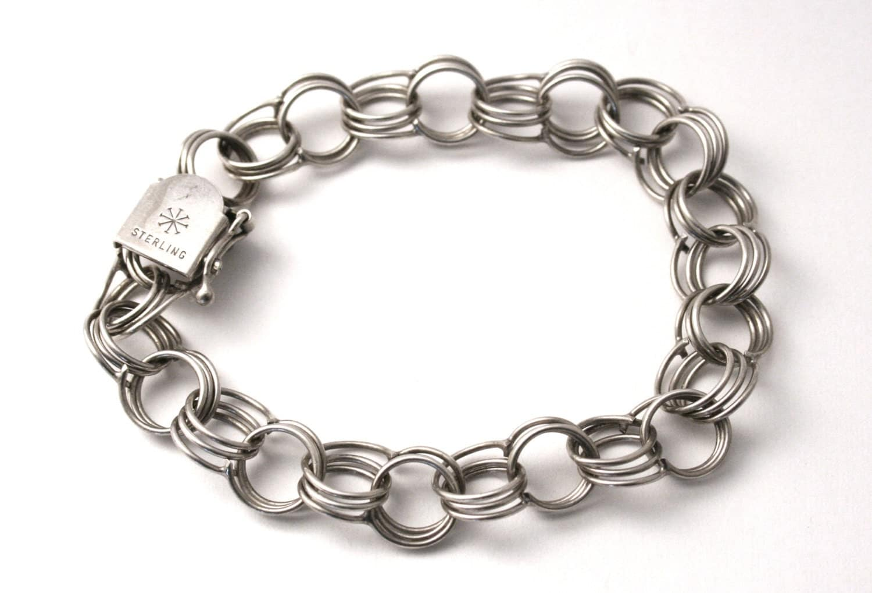 link starter charm bracelet 7 5 vintage sterling