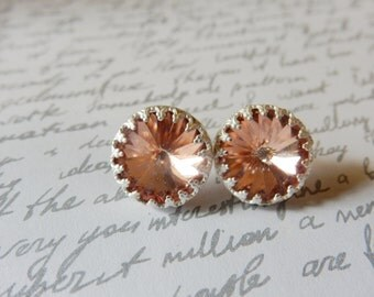 Vintage Style Crystal & Sterling Silver Stud Earrings.  Rose Peach. Hollywood Glamour