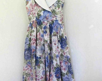 1980s Floral Dress Summer Dress Cotton Chintz Dress Sleeveless Dress 1980's Garden Party Dress